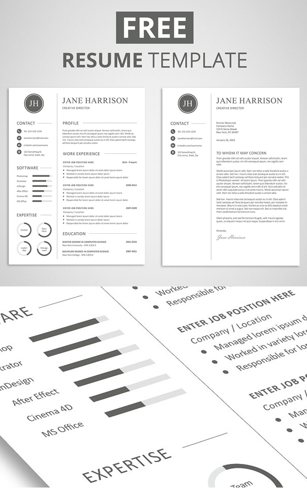 15 free elegant modern cv resume templates psd for Graphic designer resume template free download