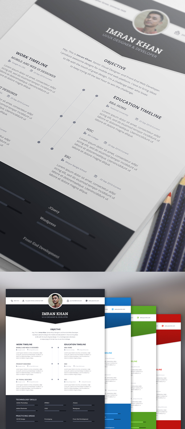 Awesome Resume Template Elegant Modern Cv Resume Templates Psd Bies