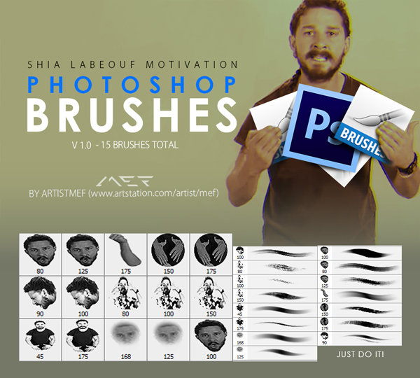 Free Shia LaBeouf Motivation Photoshop Brushes