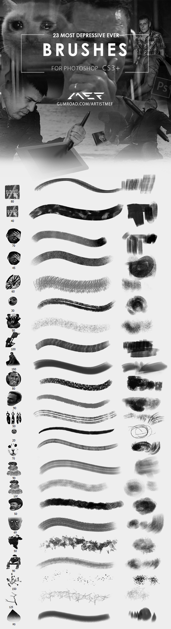 Free Most Depressive Photoshop Brushes (26 Brushes)