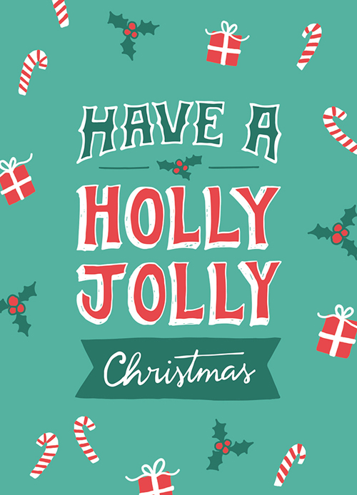 Festive Typographic Christmas Cards by Carole Chevalier