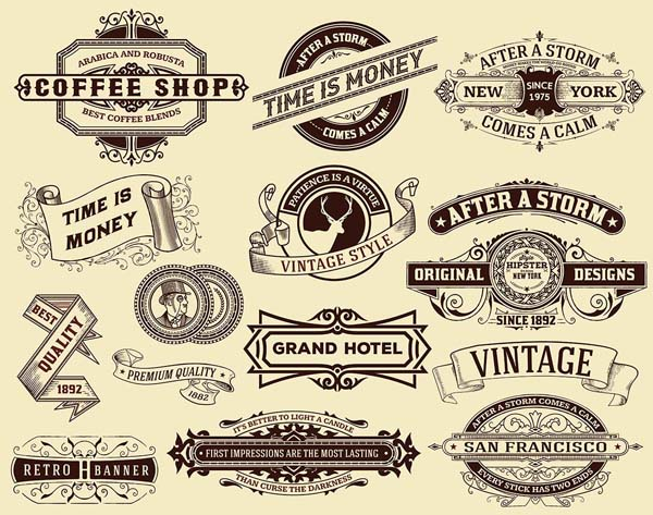 Free old style Labels and banners