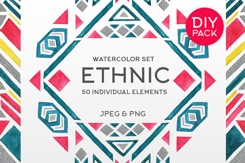 hand drawn watercolor ethnic collection contains 50 individual geometric elements