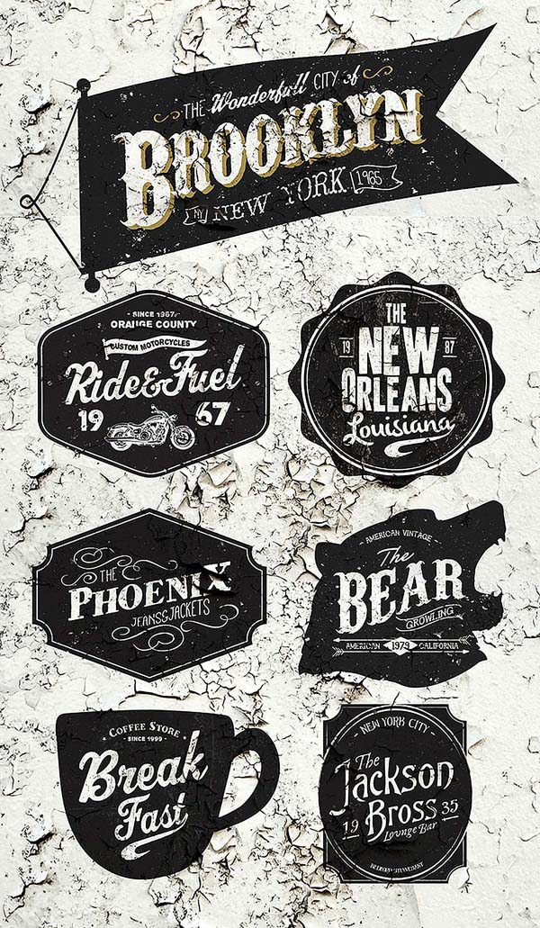 cool vintage style badge templates in PSD
