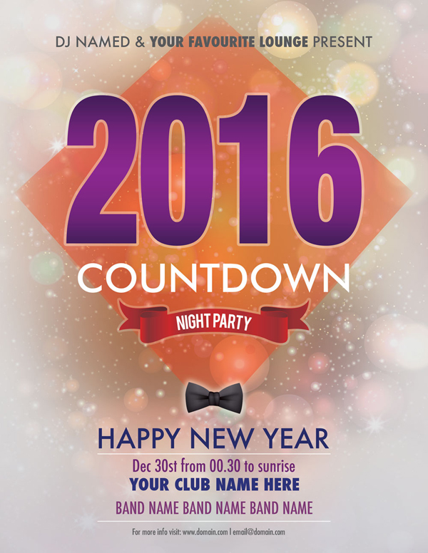 2016 New Year Party Flyer Free PSD Download