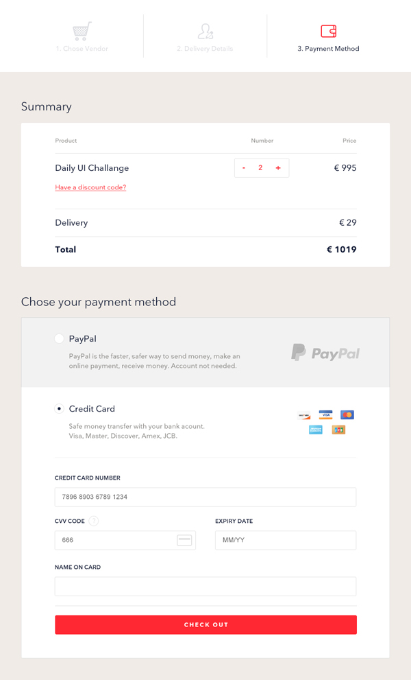 Free Credit Card Checkout UI Design