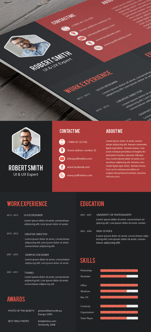 free professional cv resume and cover letter psd templates freebies