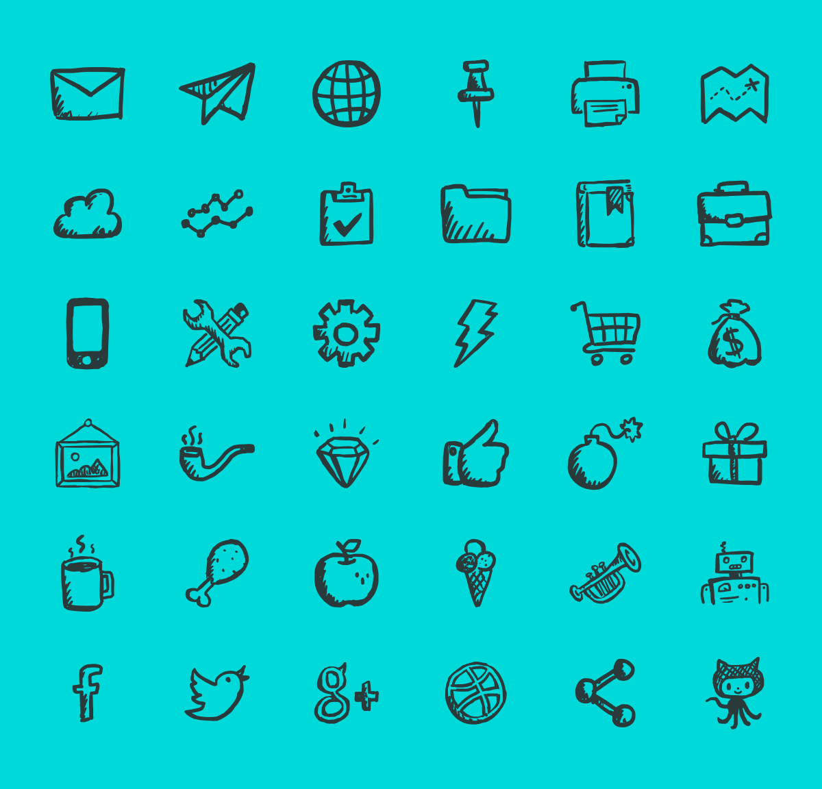 Free Hand-drawn Outline Icons Available in Ai, EPS, PDF & PSD (36 Icons)