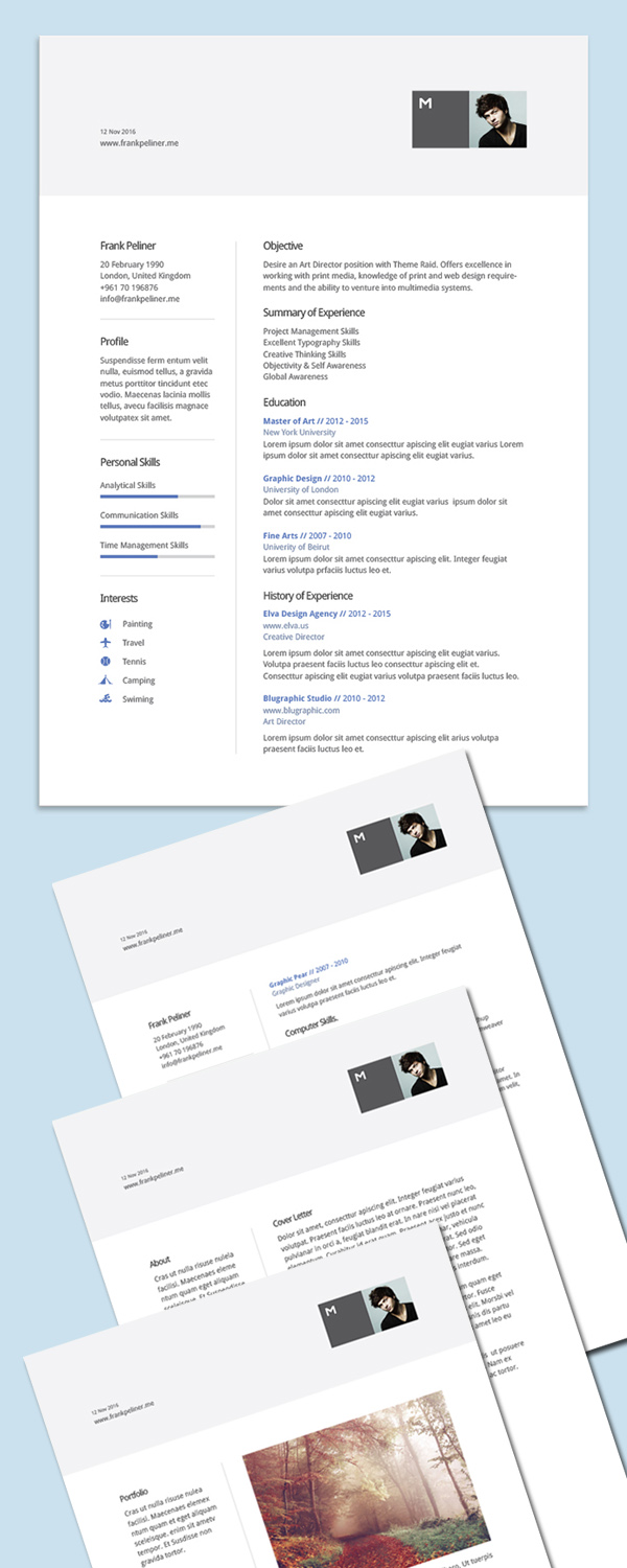 Free Cv Design Templates Professional Cv Resume And Cover Letter Psd