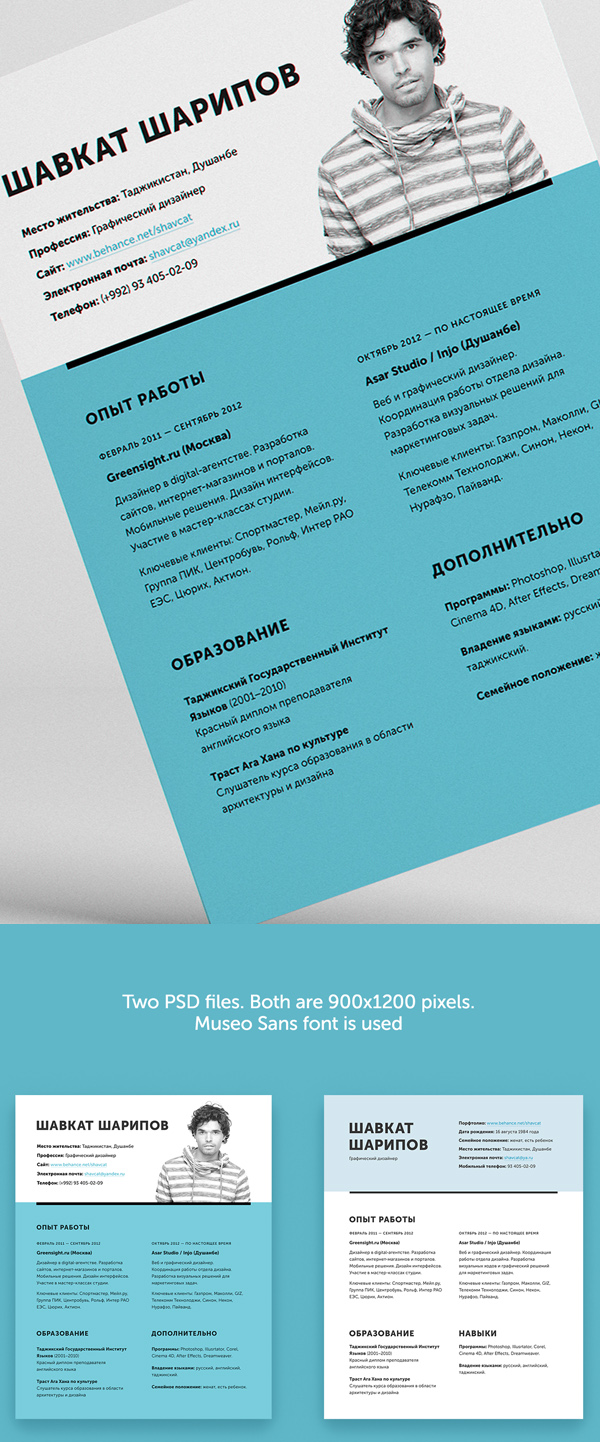 Free One Page PSD Resume (CV) Template