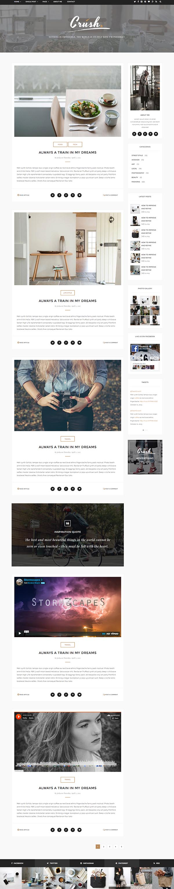 Crush - Personal Blog HTML5 Template