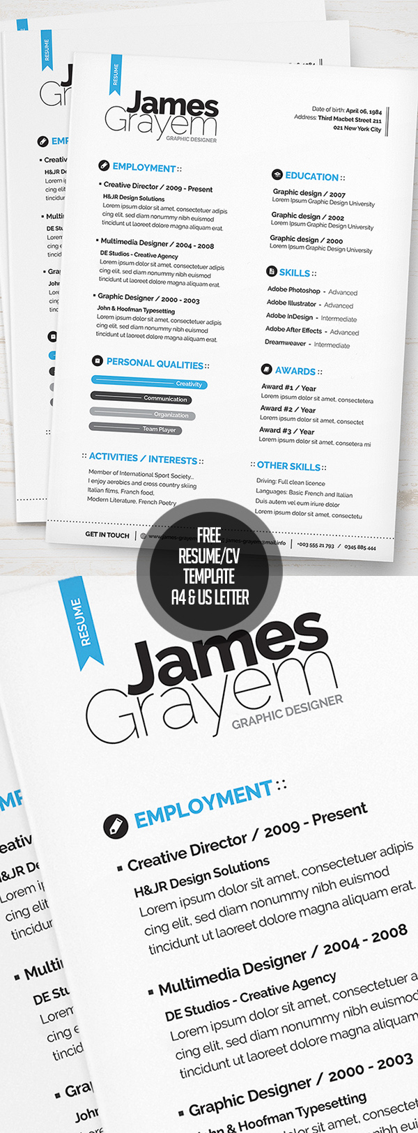 15 psd cv resume and cover letter templates bies resume cv template a4 us letter psd