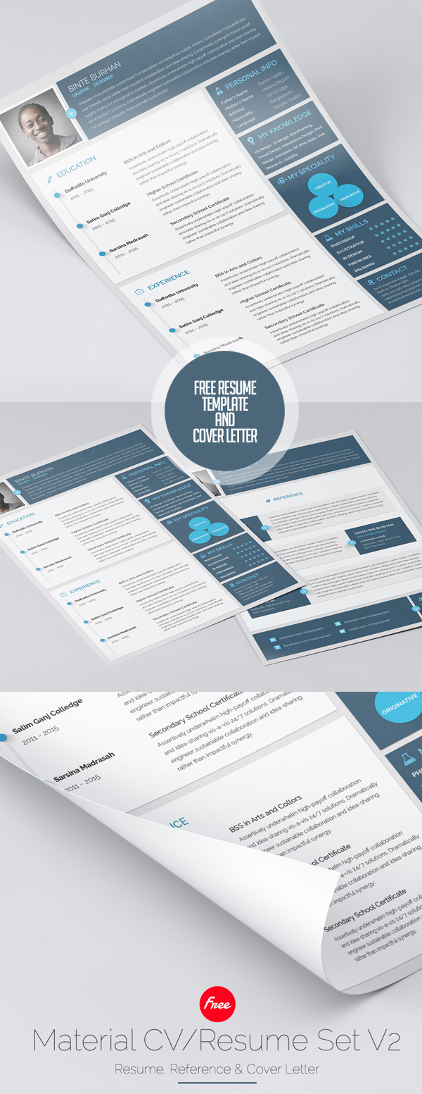 free resume and cover letter builder free psd resume and cover letter templates freebies material style