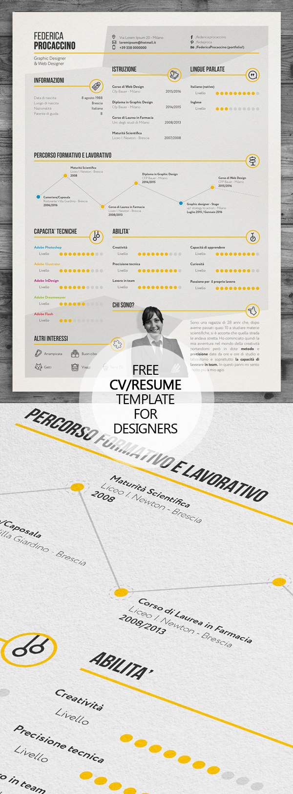 free creative freelancer designer resume template psd - Resume Templates For Graphic Designers
