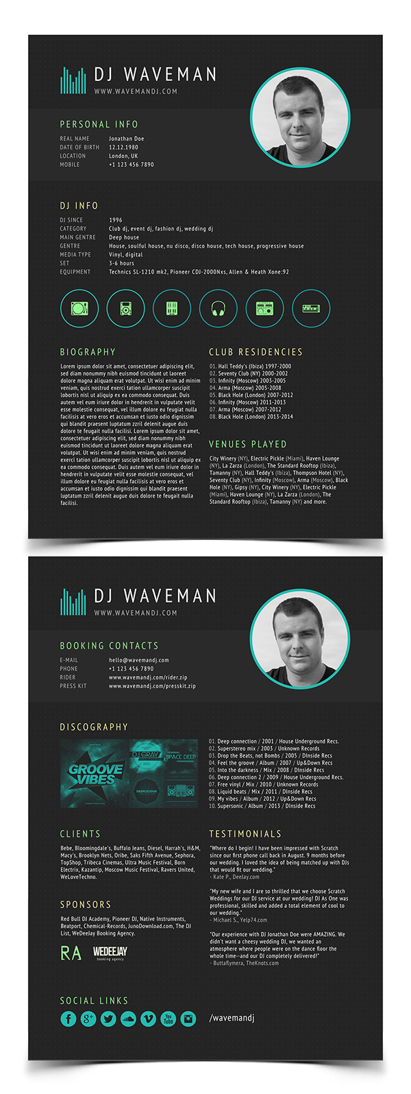Modern cv resume templates with cover letter design for Dj biography template