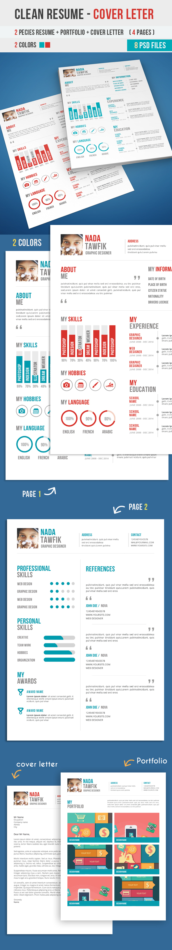 Professional Flat Clean Resume PSD