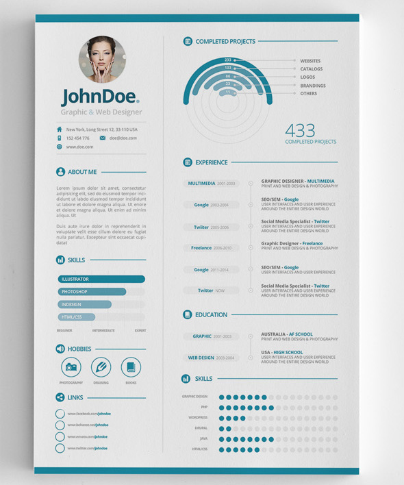 modern cv resume templates with cover letter design graphic design junction. Black Bedroom Furniture Sets. Home Design Ideas