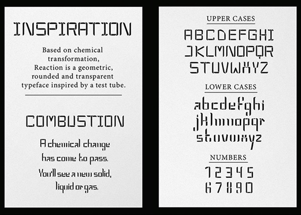 Reaction fonts and letters