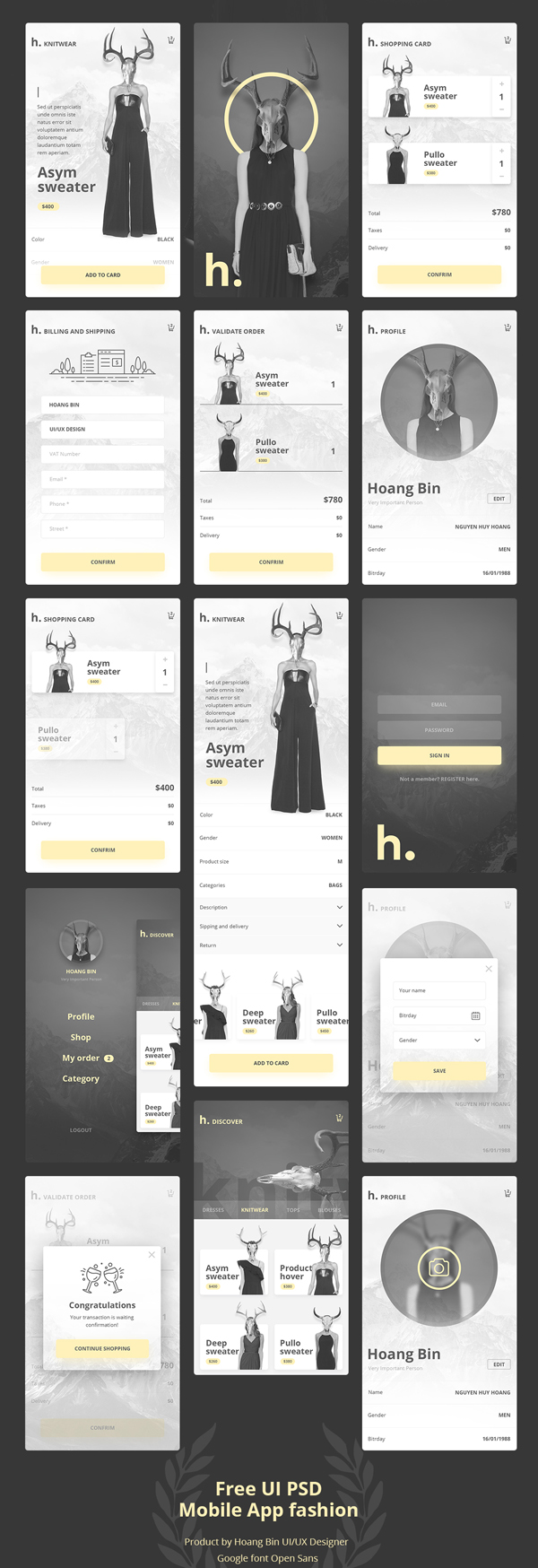 Free UI PSD Mobile App Fashion & Ecommerce ver 2.0