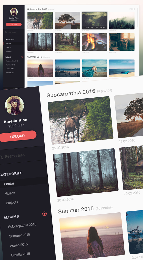 Free Photo Management App Design PSD Template