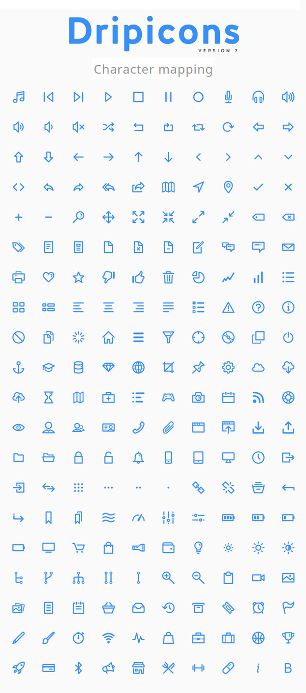 A completely free vector line-icon font