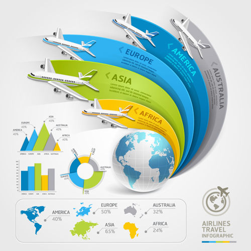 Free Airlines Travel Infographic Vector