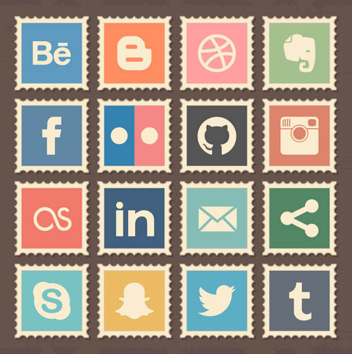 Free Retro Social Media Stamps Icons