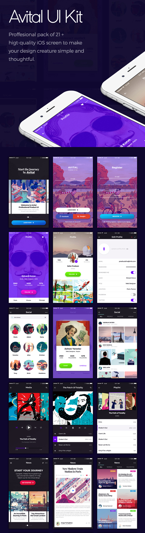 Free Avital Mobile UI Kit