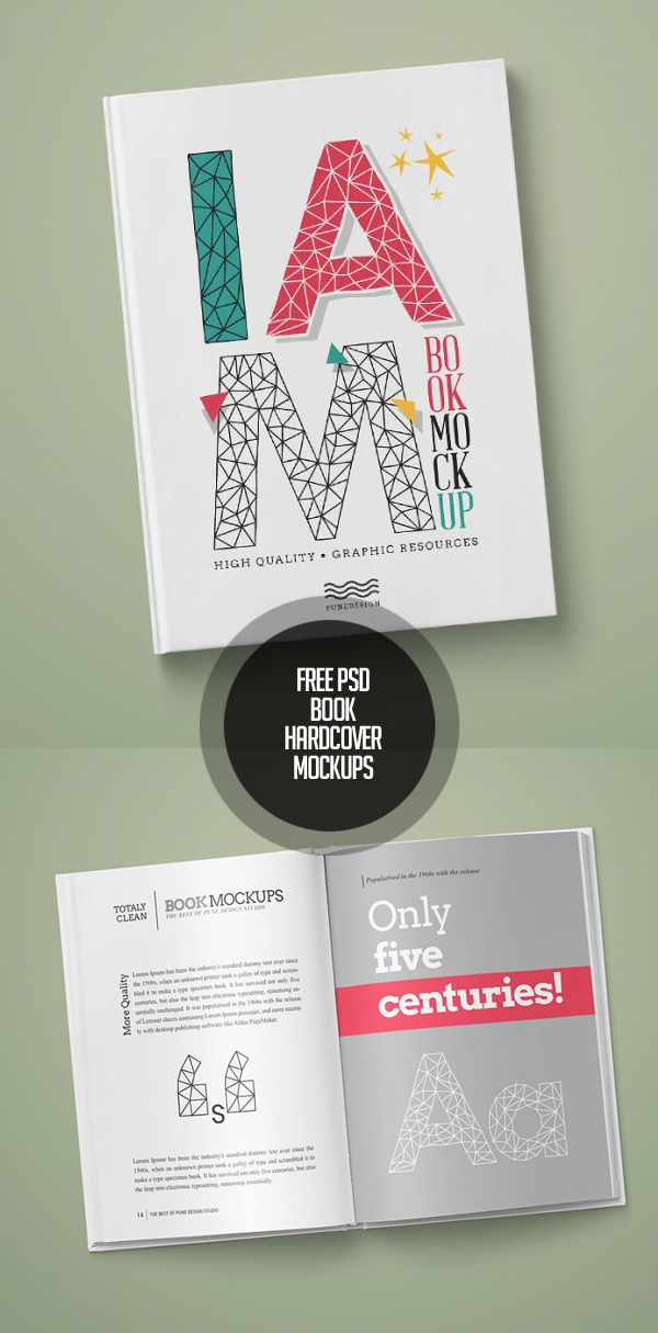 Free PSD Book / Hardcover Mockups