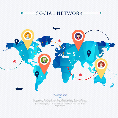 Free Social Network Map Vector