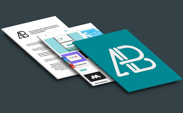 Free Isometric Perspective Letter Paper Mockup