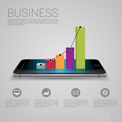 Free Business Graph with Smartphone Vector