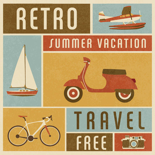 Free Retro Summer Travel Vector Poster