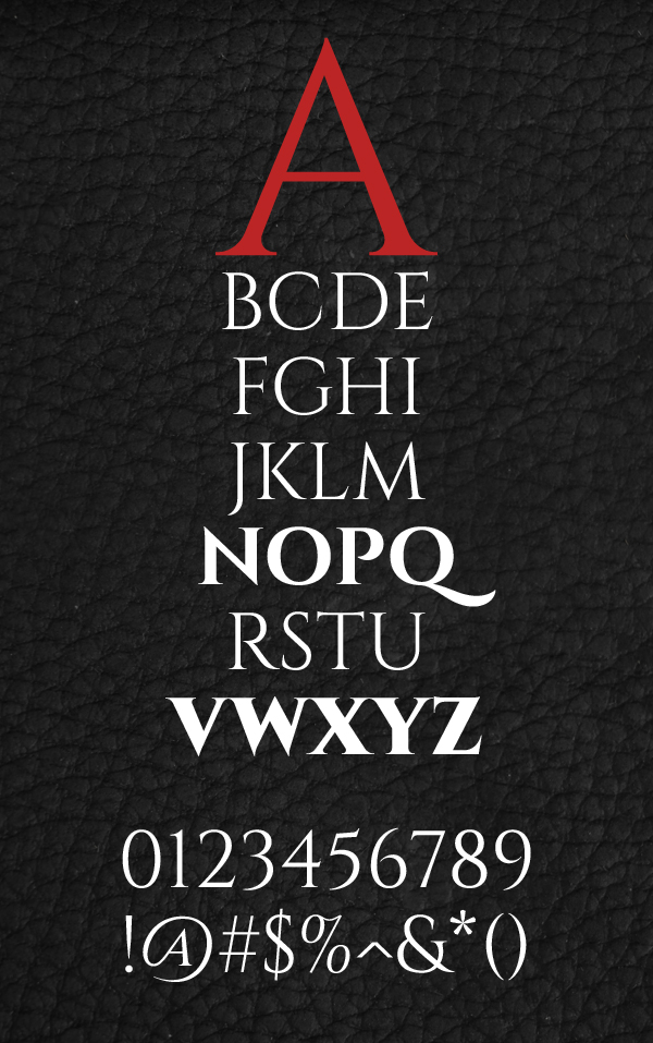 Cinzel Font Letters and Numbers