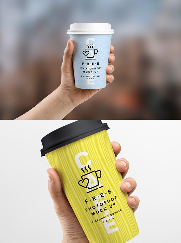 Coffee Cup In Hand MockUp Free PSD