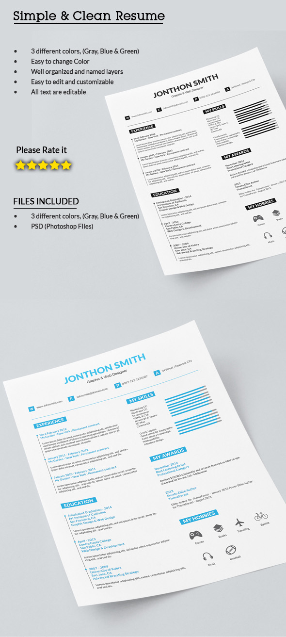 Simple Clearn, Resume Template