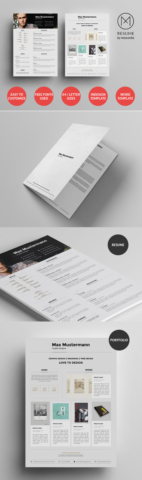 creative cv resume templates cover letter portfolio structured creative resume template design