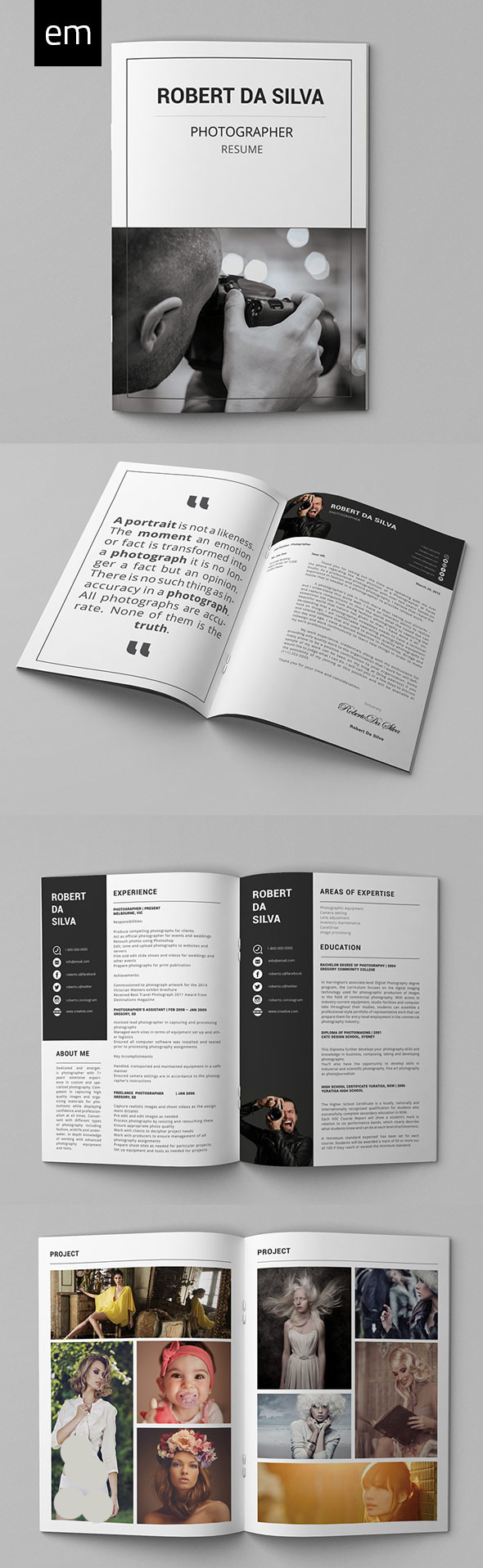 Photography Resume Portfolio Pack