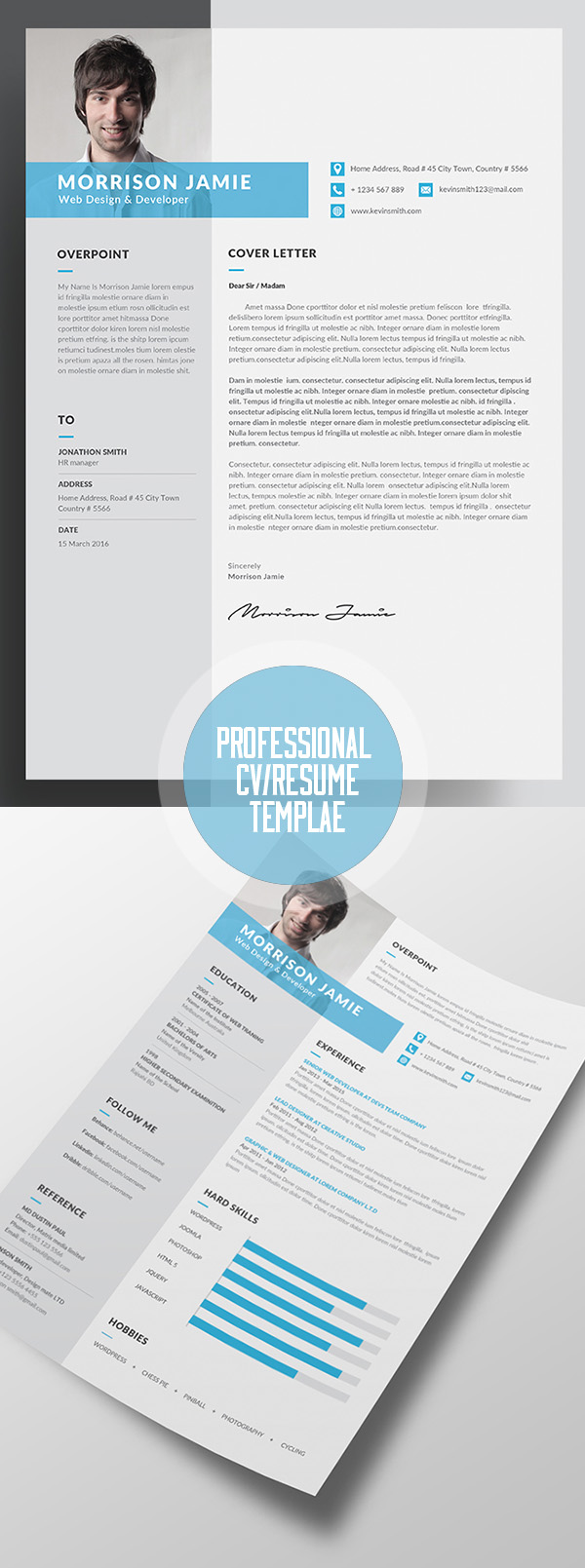 18 professional cv resume templates and cover letter design professional resume cv template