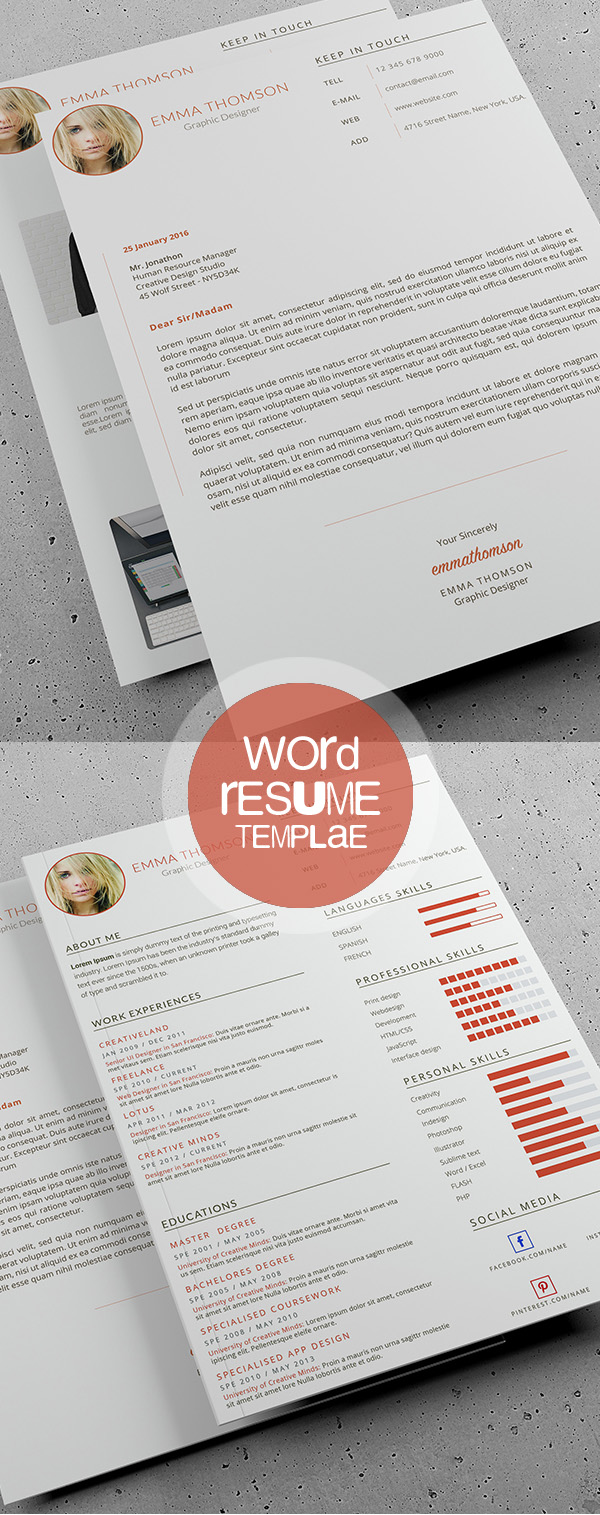 professional cv resume templates and cover letter design beautiful word resume template