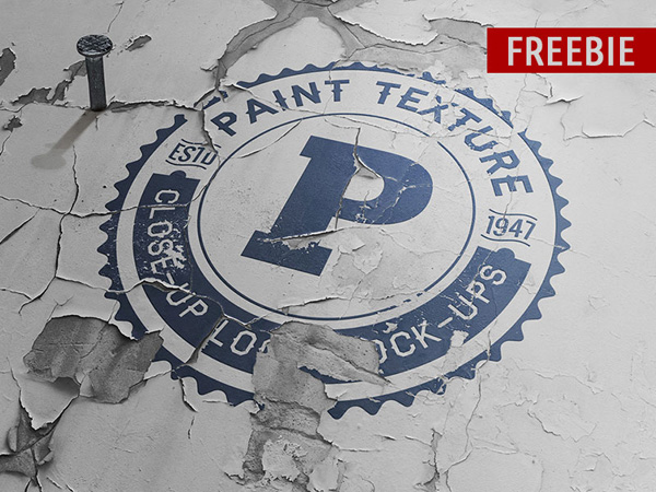 Free Old Paint Close-up PSD Logo Mock-up Template