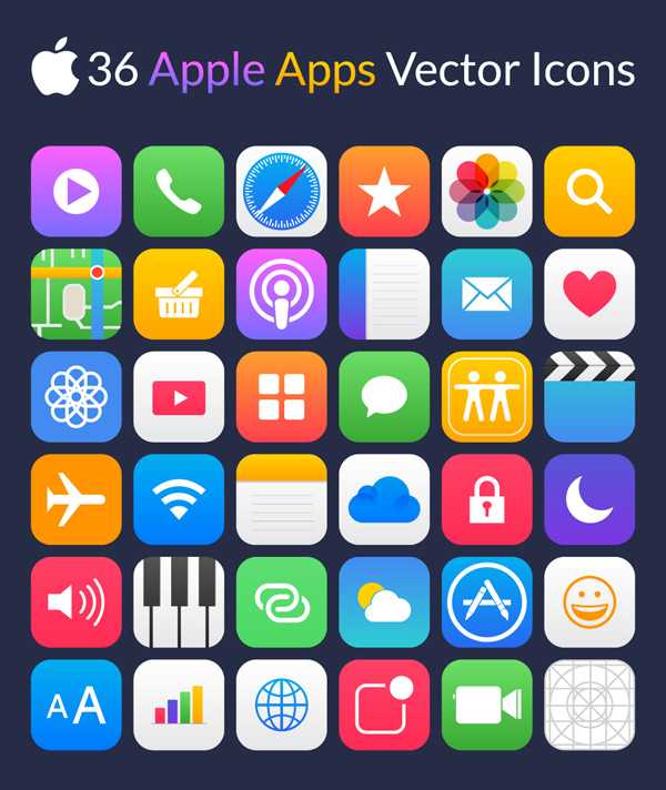 Free Apple App Vector Icons (36 Icons)