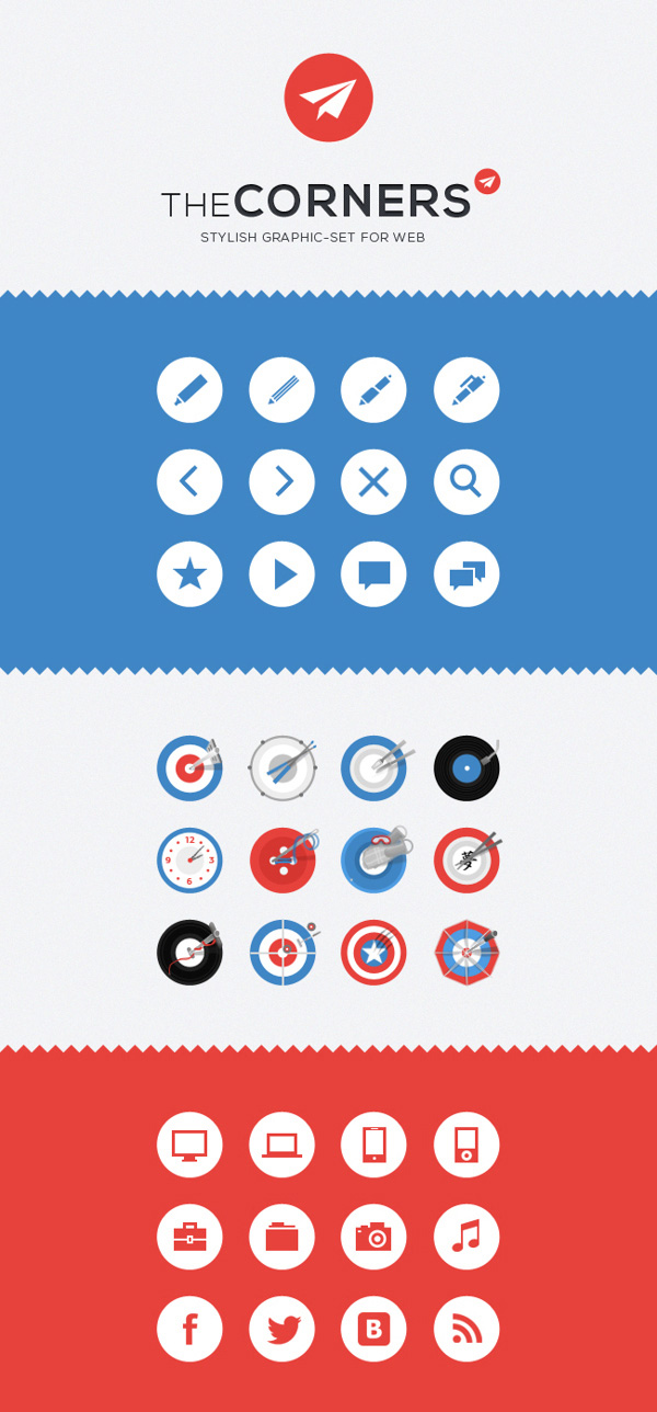 The Corners. Stilish Graphic Set for Web (36 Icons)