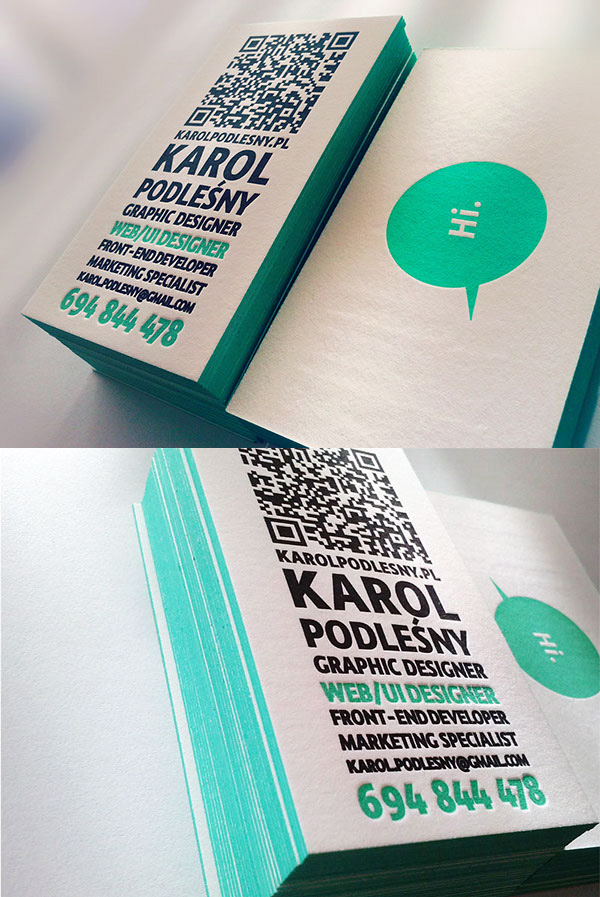 Letterpress Business Card with Printed Edges