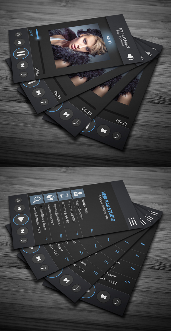 80 best free business card psd templates music player style business card template freebie download accmission Image collections