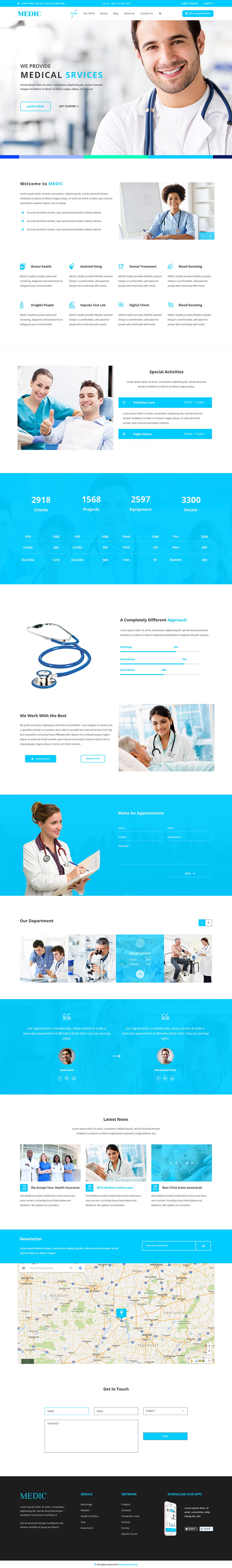 Free Medical Website Template PSD