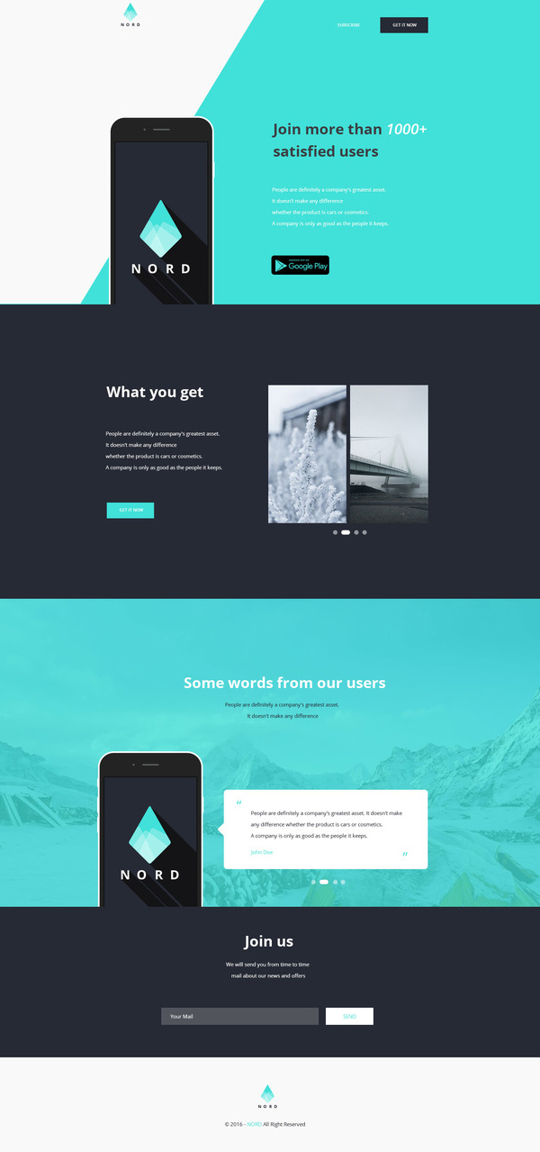 Nord - Simple App Landing One Page Website Template