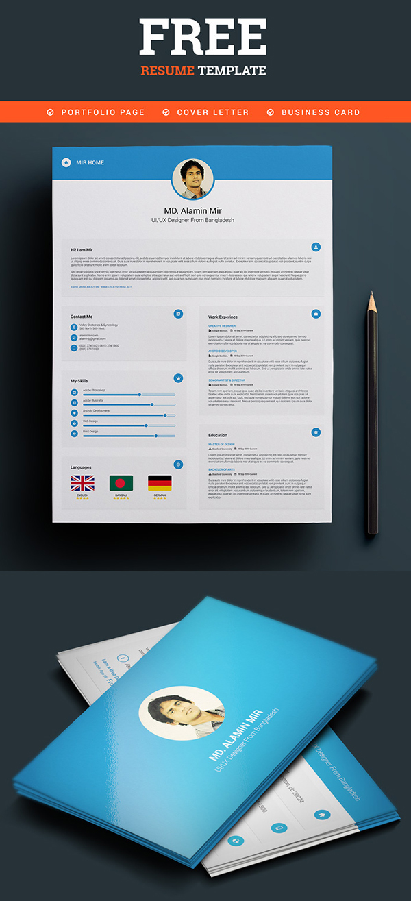 cv resume templates psd mockups bies graphic resume business card