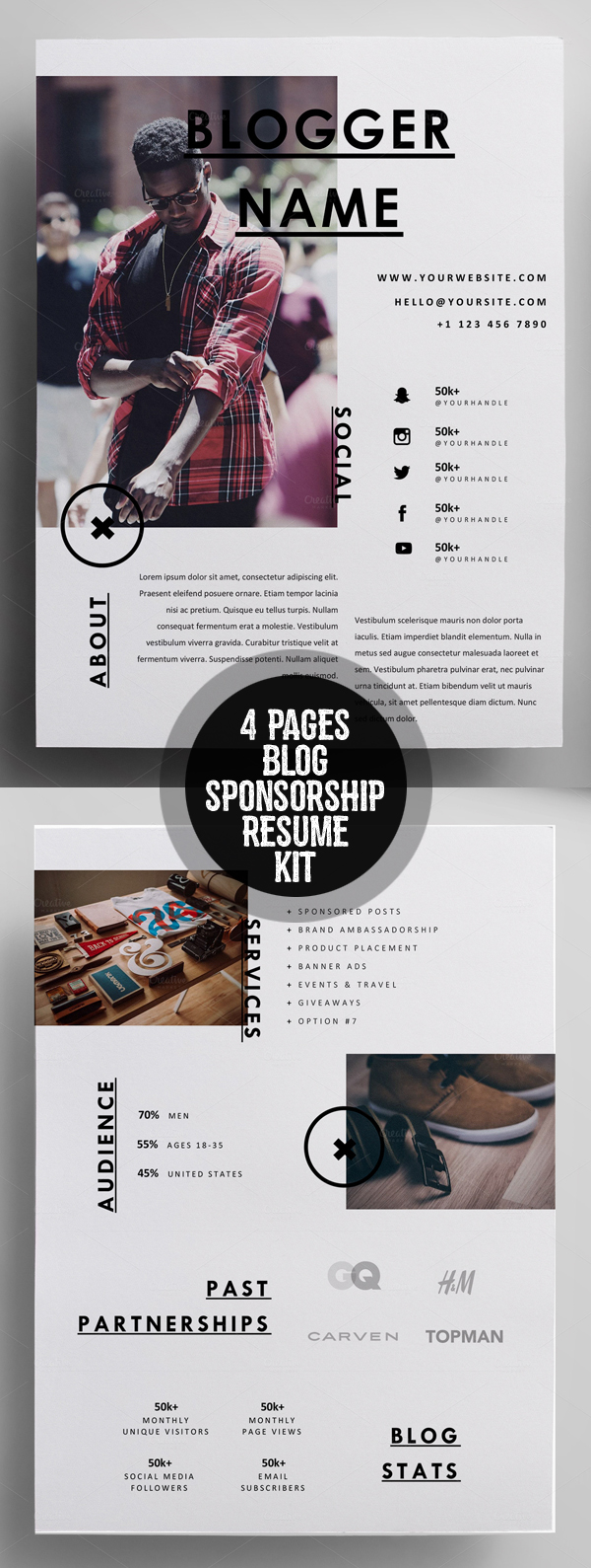 Creative 4 Pages Blog Sponsorship Kit Resume Template