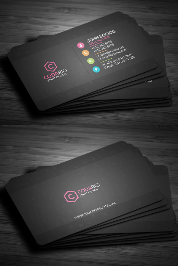 Sleek Dark Black Business Card